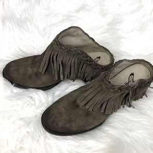 Freebird by Steven Lucy brown tan ankle fringeclog